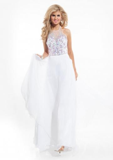 Свадьба - Crystals Halter Backless White Blue Chiffon Ruched Lilac Floor Length