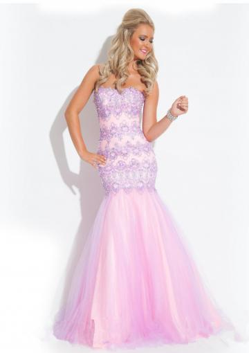 Wedding - Pink Strapless Floor Length Green Zipper Appliques Tulle Mermaid
