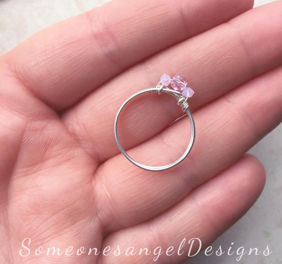 Promise Ring Engagement Pink Three Stone Bridal Wedding Sterling Silver Diamond Statement