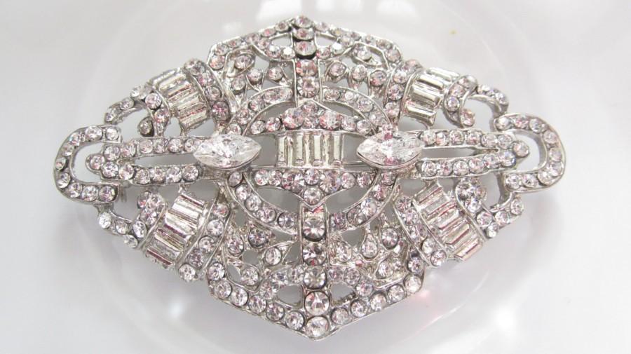 Hochzeit - Art Deco Rhinestone Brooch / Bridal Brooch / Crystal Brooch Component / SQB-8