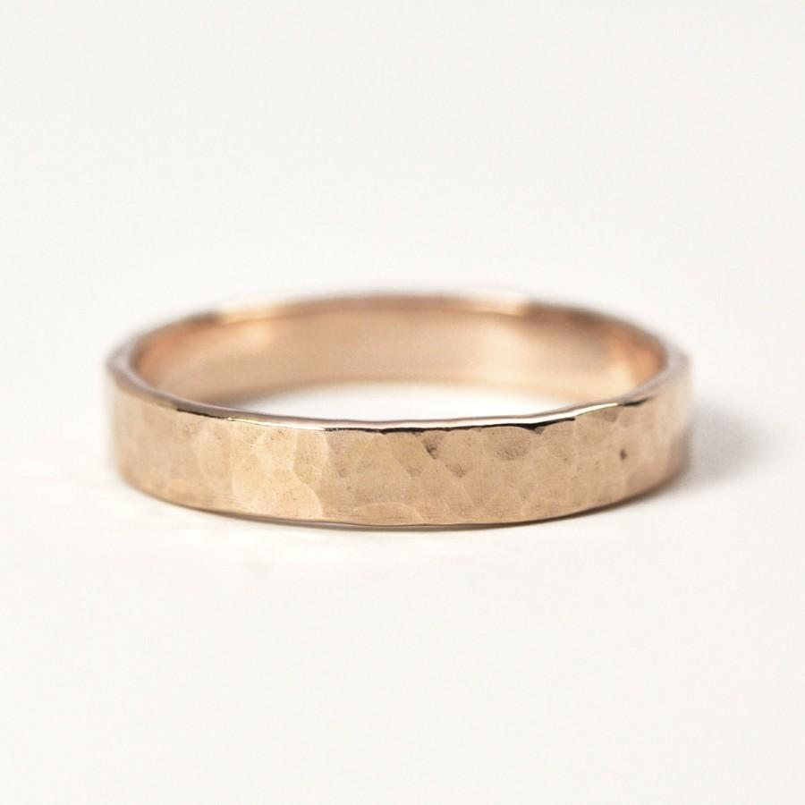 Hammered Rose Gold Ring 14K Gold 4mm Wide Matte Finish Unisex