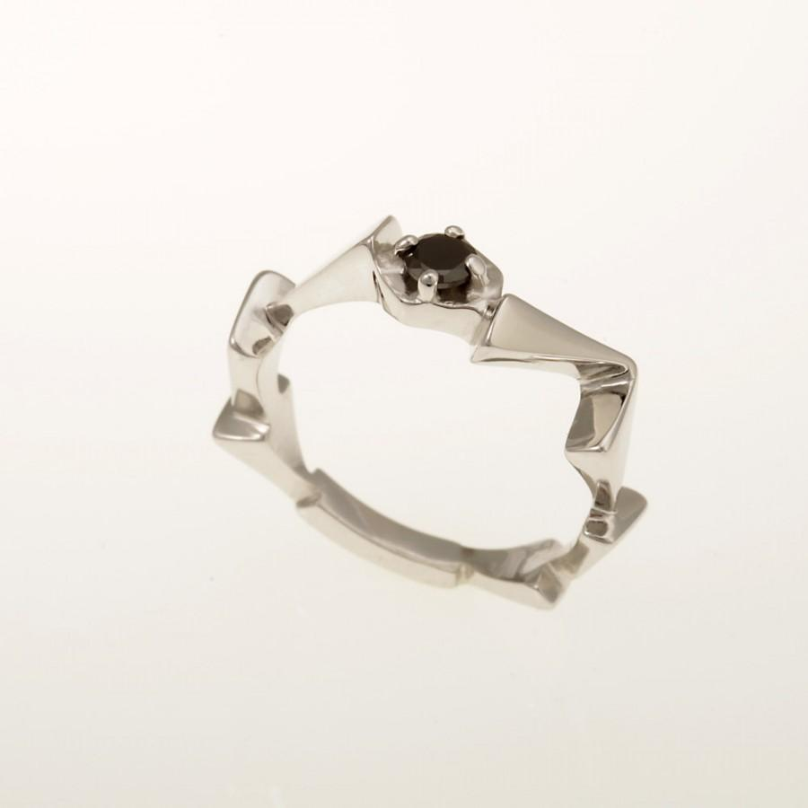 Hochzeit - Black Diamond Ring. Unique Engagement ring. Modern Engagement Ring. Wedding Ring. Specially Designed Ring. White Gold & Diamond.  RG-1121