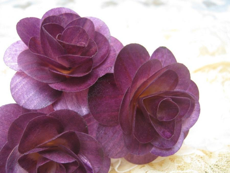 Mariage - 150  Pcs Purple Birch Wood Roses for Weddings, Home Decorations, Scrapbooking and Floral Arrangements