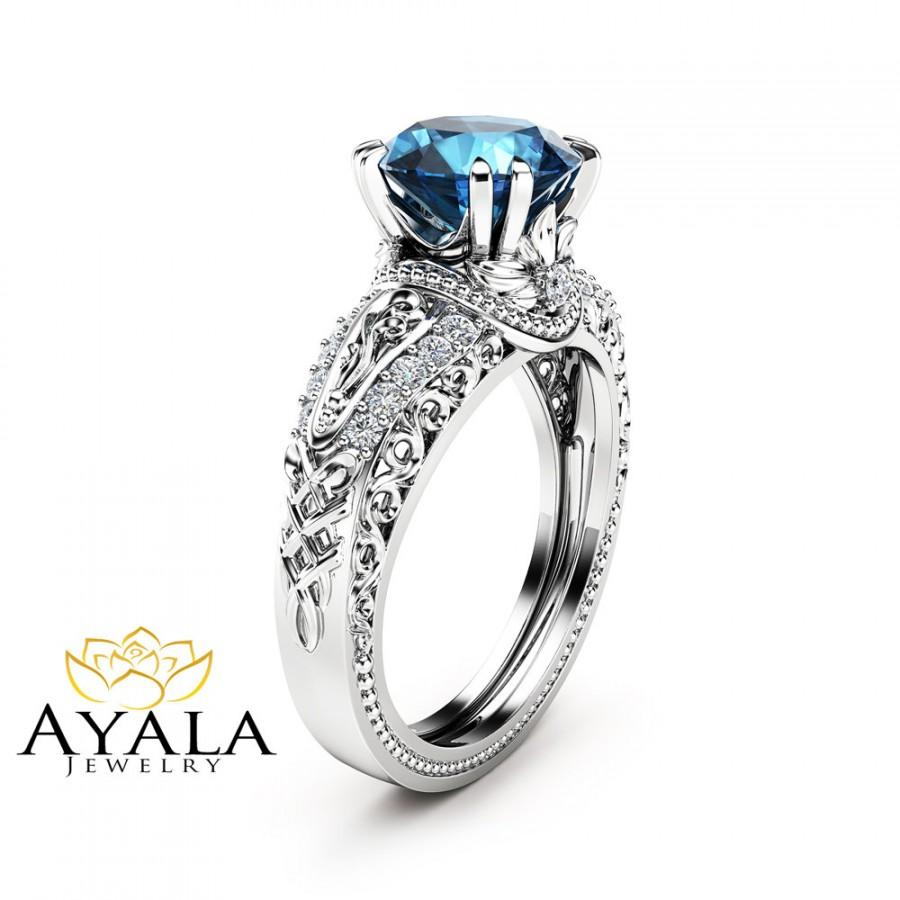 Mariage - London Blue Topaz Engagement Ring 14K White Gold 2 Carat Topaz Ring Vintage Engagement Ring