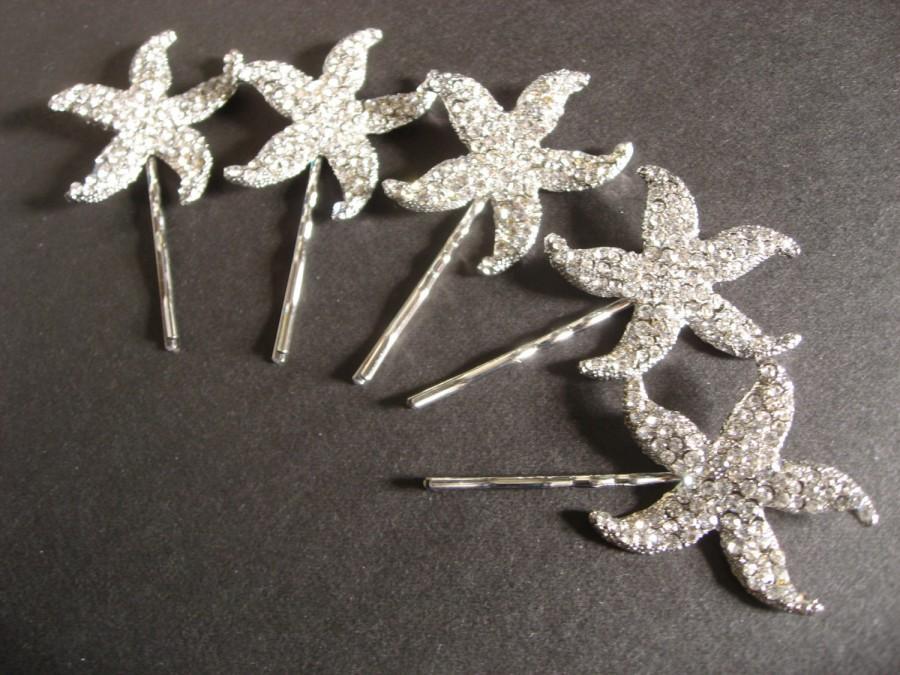 زفاف - Beach Wedding Starfish, Wedding Headpiece, Star Wedding Hair Clips, Starfish Star Bobby Clips x 2