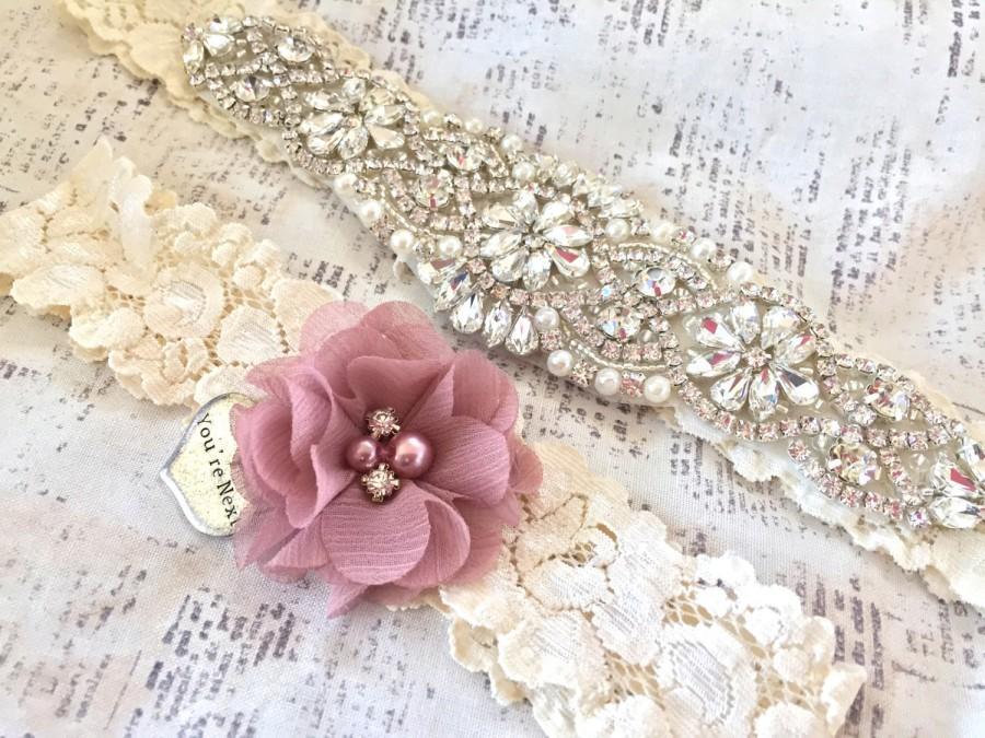 Mariage - Rhinestone Garter, Crystal Garter - Crystal Garter Set, Rhinestone Wedding Garter Set, Vintage Bridal Garter, Crystal Garter Belt, Garters