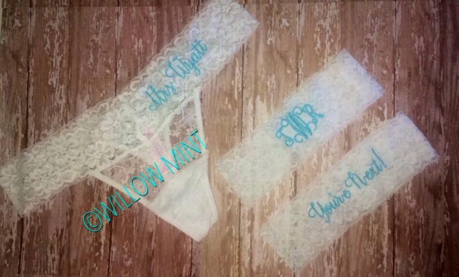 Mariage - Monogram bridal thongs; personalized lace underwear; something blue; monogram wedding panties; youre next garter