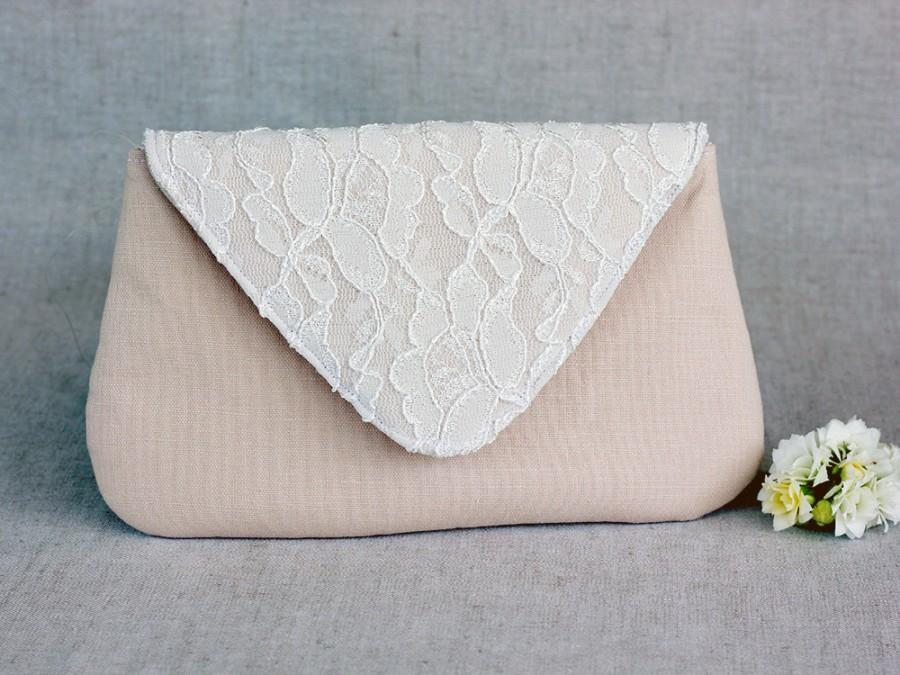 Mariage - Blush Clutch Ivory Lace Bridesmaid Clutch, White Wedding Bridal Clutch, Wedding Bridesmaid Lace Handbag Clutch Wedding White Ivory Bride