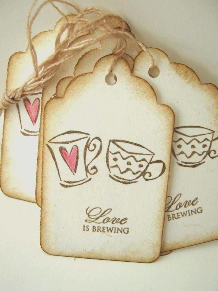 Wedding - Wedding Wish Tags, Love Is Brewing, Espresso, Coffee Mugs