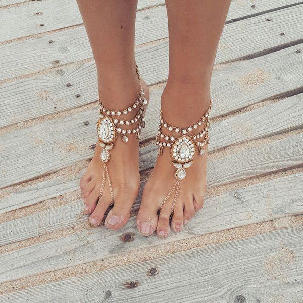 Beach Wedding Barefoot SandalsBridal Foot JewelryBoho Slave Anklet