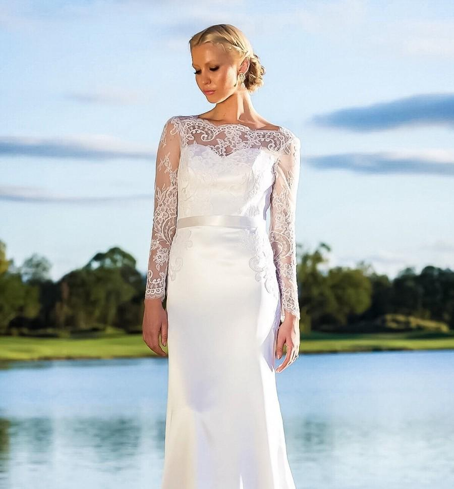 Wedding Dress With Lace Sleeves/ Long Lace Sleeves Wedding Gown/ Low ...
