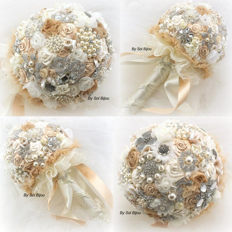 Свадьба - Brooch Bouquet, Champagne, Gold, Beige, Cream, Ivory, Vintage Style, Elegant Wedding, Jeweled, Fabric, Pearls, Crystals, Lace, Gatsby