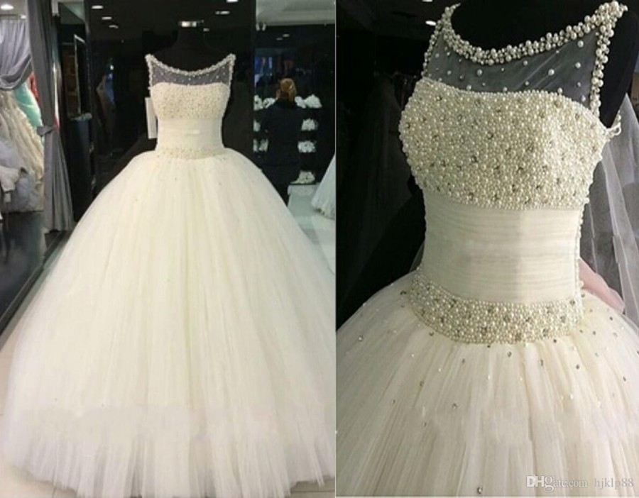 Wedding - 2016 Bling Real Image Luxury Pearls Ball Gown Wedding Dresses Sweetheart Tulle Pearls Sequins Bridal Gown Vestido De Noiva Wedding Dress Plus Size Wedding Dresses Lace Wedding Dresses 2016 Wedding Dresses Online with 187.43/Piece on Hjklp88's Store