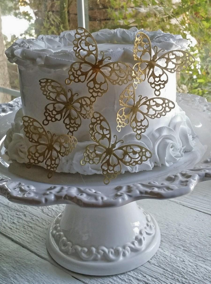Свадьба - Romantic Shimmering Metallic Gold Butterfly Topper