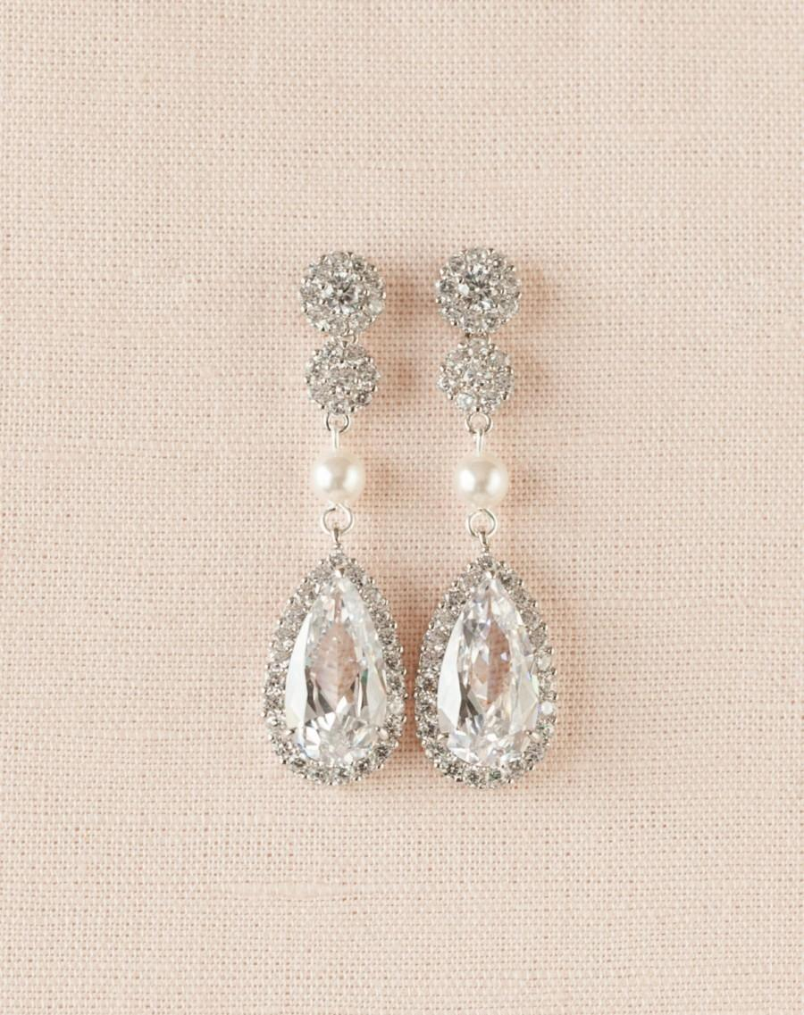 310a58d9b2596 Gold Bridal Earrings, Rose Gold Earrings, Yellow Gold Swarovski ...