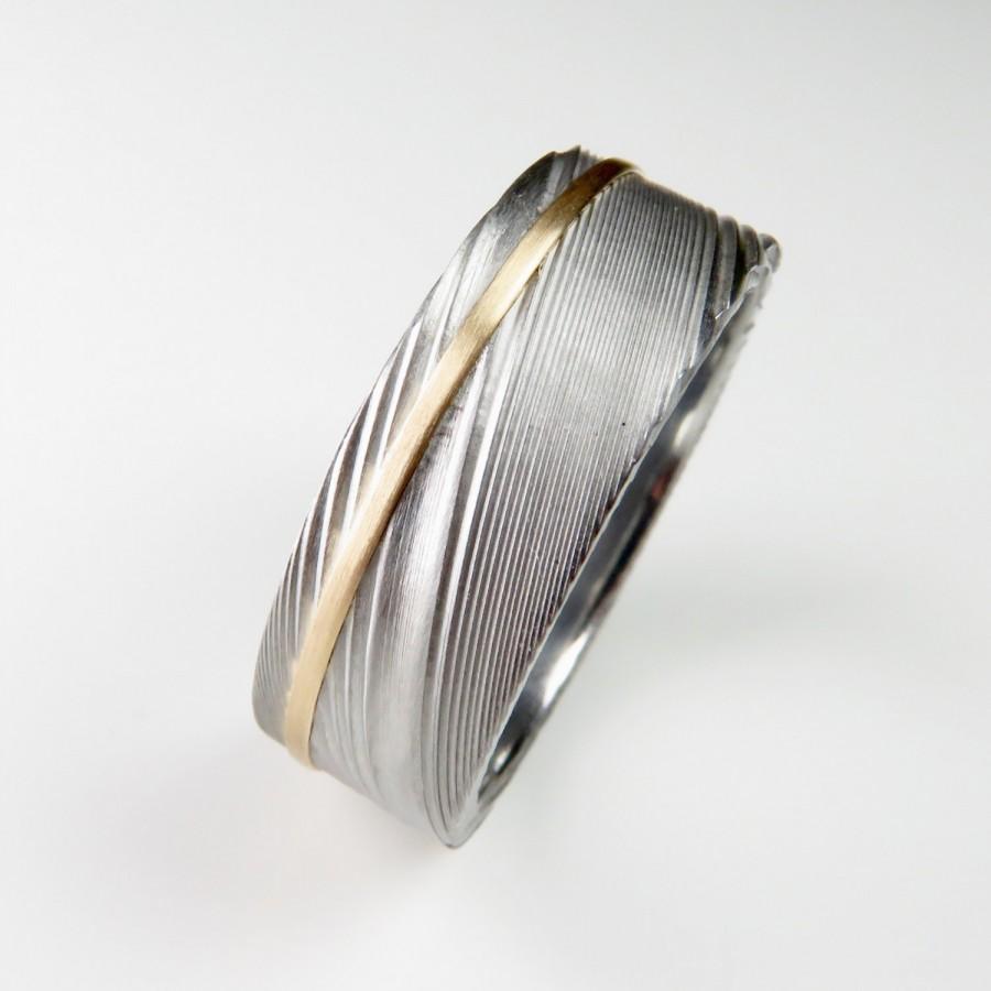 men 39 s wedding band damascus stainless steel gold stripe