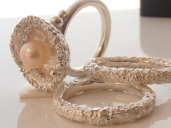 Mariage - Pearl Engagement Ring With Matching Wedding Bands Set.