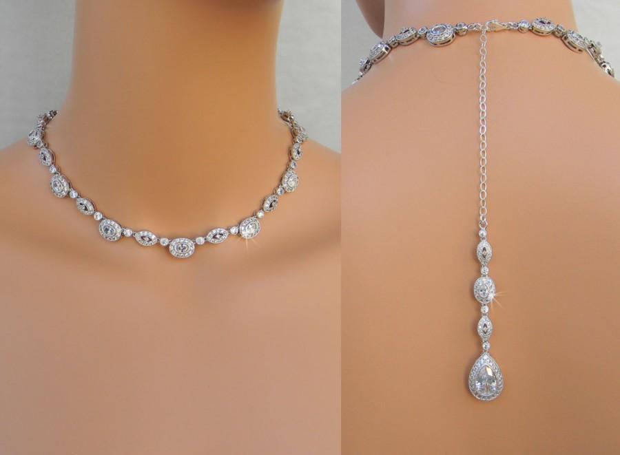 Backdrop Bridal Necklace Crystal Wedding Necklace Back Drop