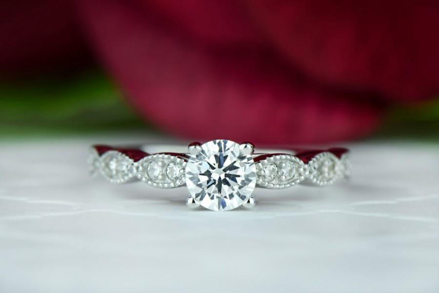 Свадьба - 3/4 ctw Solitaire Wedding Ring, Wide Art Deco Ring, Bridal Ring, Man Made Diamond Simulants, Engagement Ring, Milgrain Ring, Sterling Silver