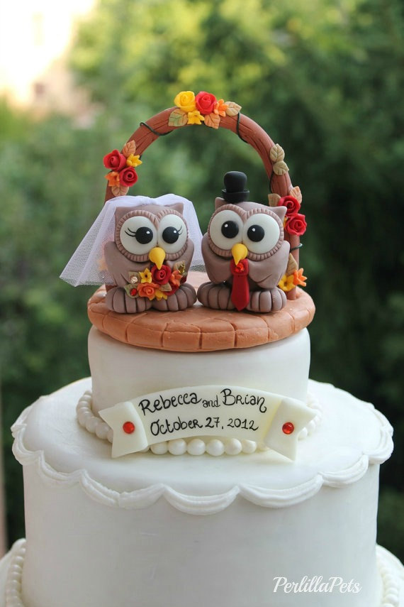 Owl Cake Topper With Wedding Arch Brick Patio Base And Banner For