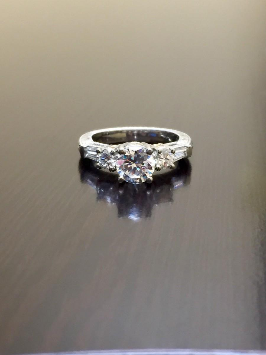 Свадьба - Platinum Art Deco Diamond Engagement Ring - Art Deco Engraved Platinum Diamond Wedding Ring - Hand Engraved Platinum Ring - Diamond Ring