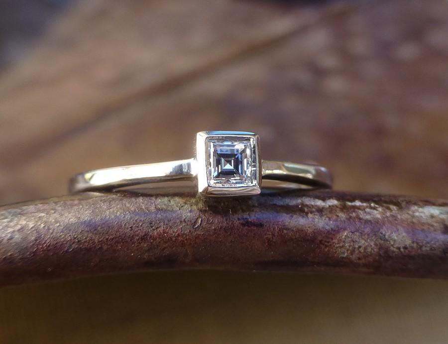 Mariage - Princess cut diamond engagement ring.Princess cut diamond ring.   Princess cut diamond promise ring. 14k white gold ring.Ready to ship.