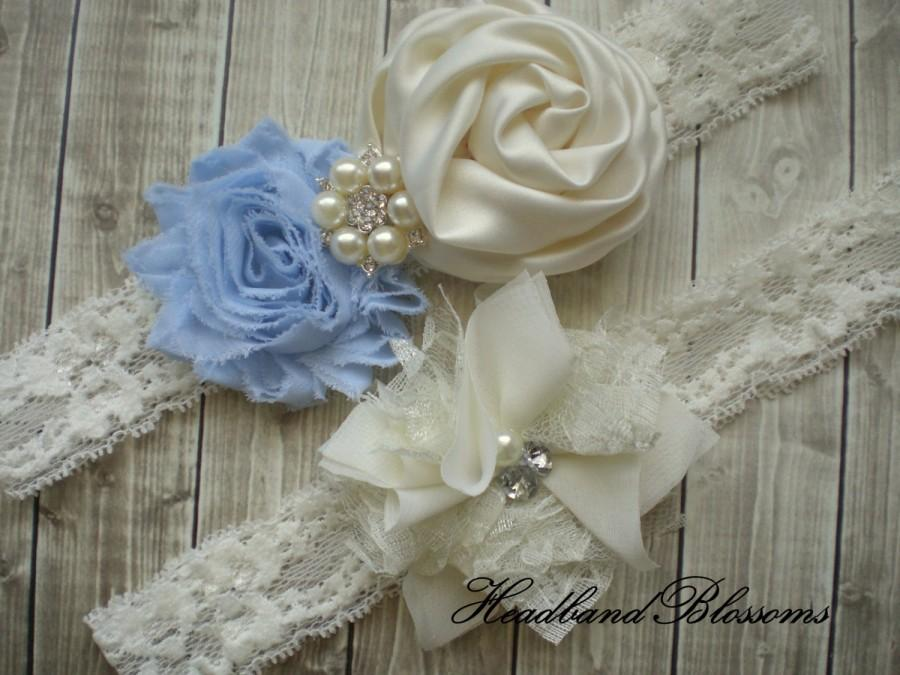 Hochzeit - Beautiful LIGHT BLUE Bridal Garter Set - Ivory Keepsake & Toss Wedding Garters - Chiffon Flowers Rhinestone Garters - Something Blue