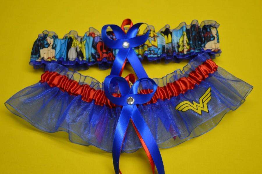 Mariage - Handmade wedding garters keepsake and toss WONDER WOMAN Super Hero wedding garters