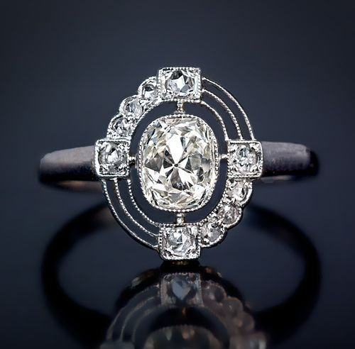 Wedding - Vintage Art Deco Diamond Engagement Ring 1930s