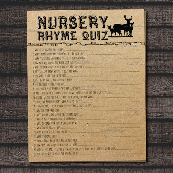 nursery rhyme quiz baby shower game fill in the blanks woodland