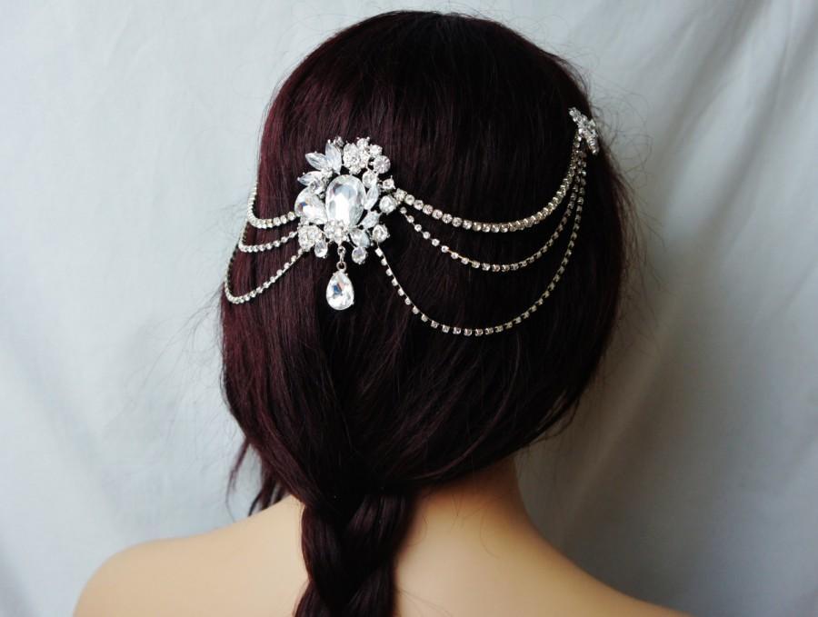 Hochzeit - Rhinestone Headband, Bridal Rhinestone Backside Heapiece, Silver or Gold Wedding Hair Accessory