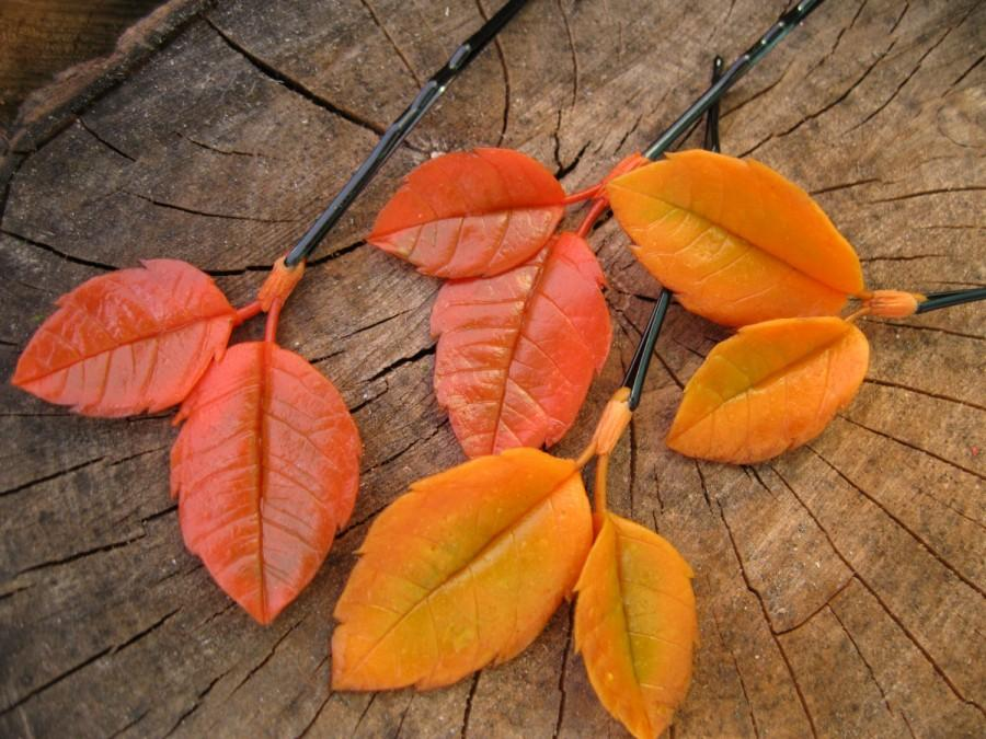 Hochzeit - Fall wedding hair accessories Autumn wedding bobby pins Yellow leaves hair pins Orange leaf hair piece Woodland wedding Fall hair accessory