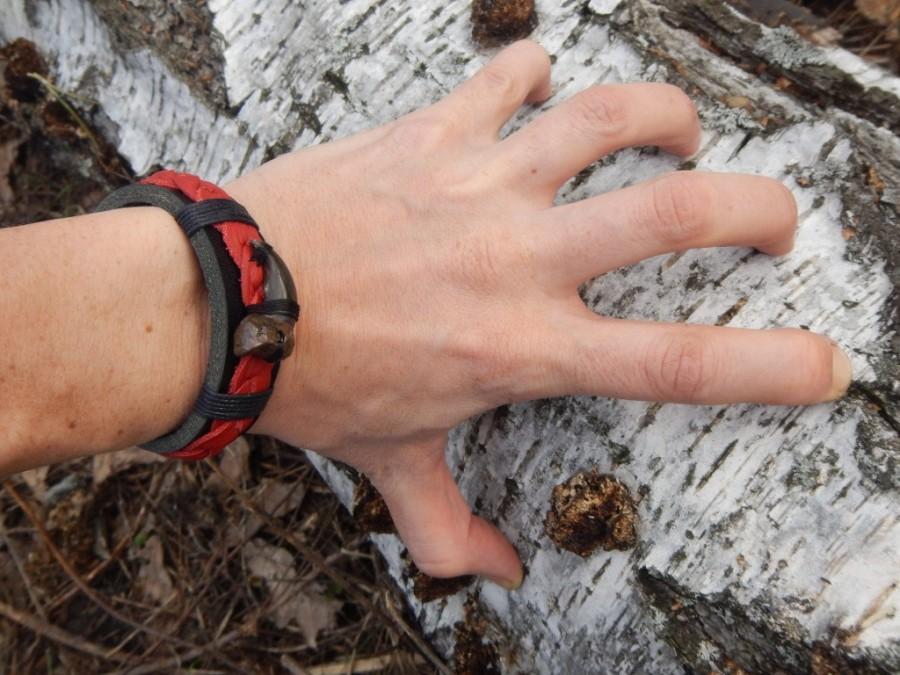 زفاف - Leather bracelet Bloody wolf claw, leather bracelet, black bracelet, mens leather bracelet, leather bracelet for women,
