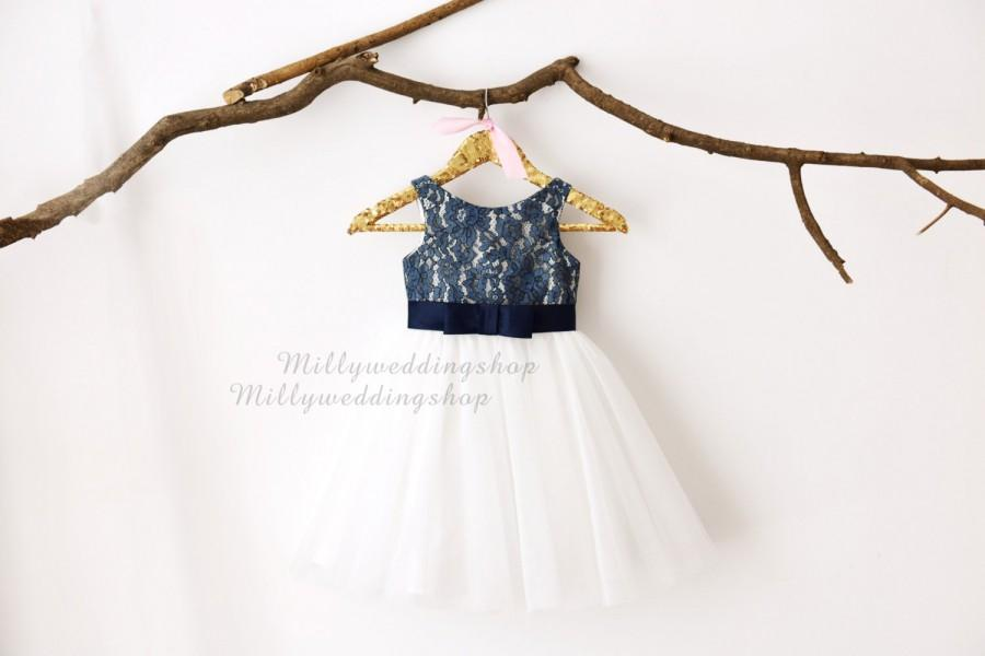Navy blue lace ivory tulle flower girl dress m0029 2578299 weddbook navy blue lace ivory tulle flower girl dress m0029 mightylinksfo