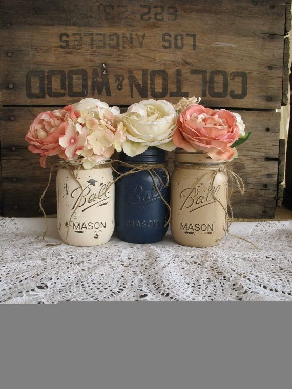 Set Of 3 Pint Mason Jars, Painted Mason Jars, Rustic Centerpieces ...