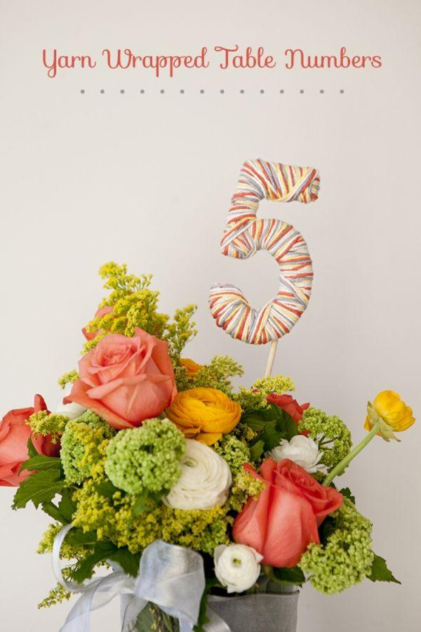 Mariage - Learn How To Easily Make Yarn Wrapped Table Numbers!