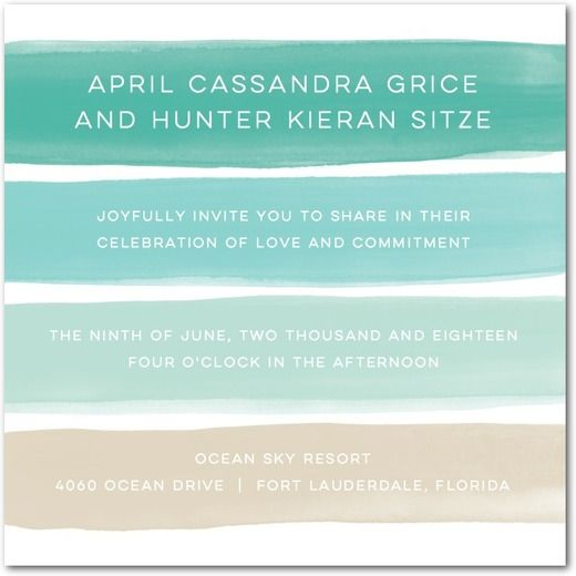 Wedding - Soft Sunset - Signature White Wedding Invitations In Bay Or Posies