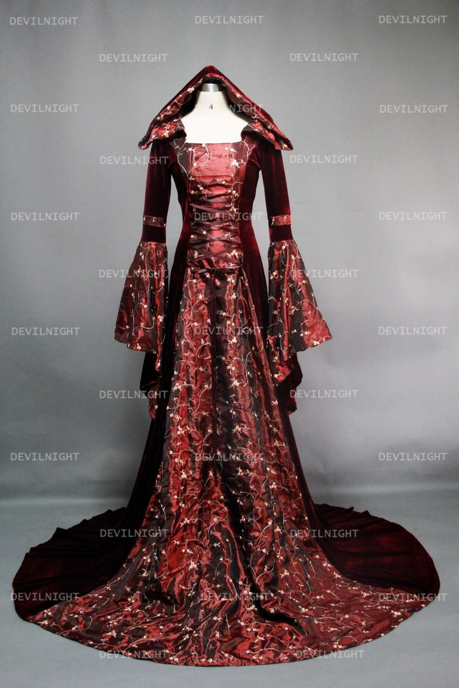 Mariage - Fantasy Velvet Hooded Medieval Gown
