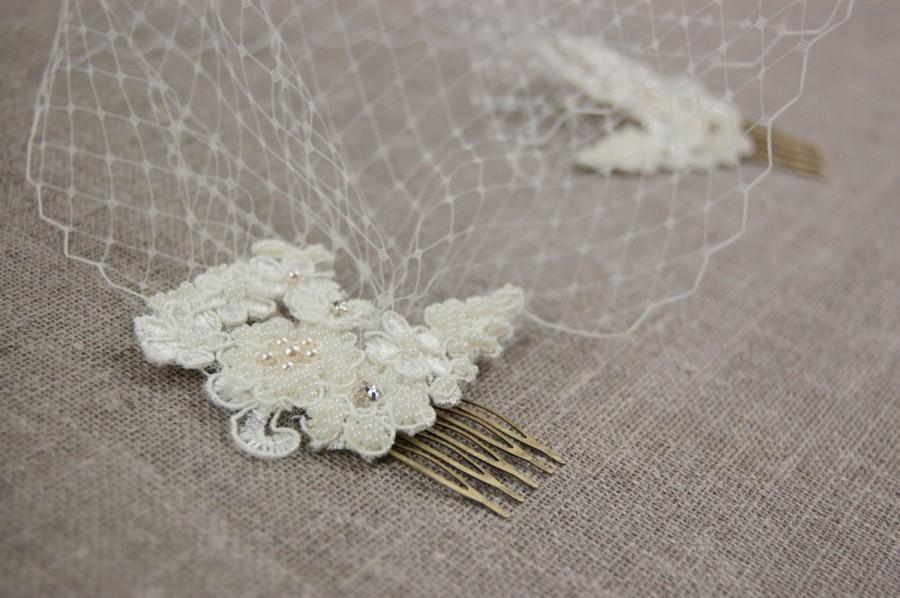 Mariage - Birdcage veil - Ivory birdcage veil - Lace birdcage veil - Wedding veil - Bandeau veil