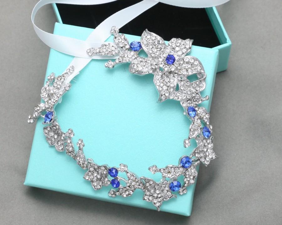 Свадьба - 9 inch Blue Long Leaf Rhinestone Crystals Headband, Wedding Bridal Tiara, Rhinestone Crystal Headband, Royal Blue Headband