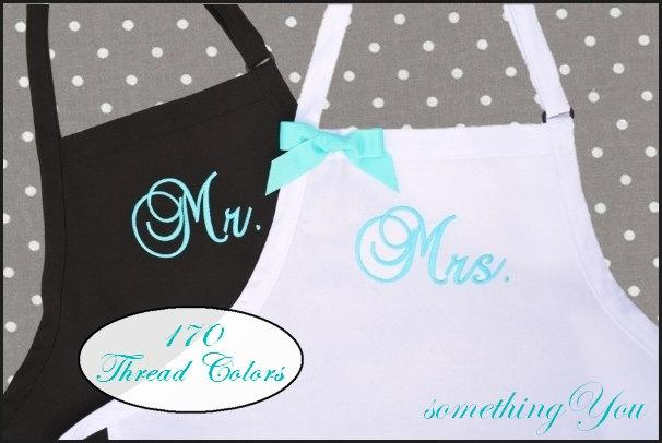 زفاف - Personalized Mr. and Mrs. Aprons Gift Set - Bride and Grooms Aprons -His and Hers Aprons,  Custom Colors Aprons, Blue Aprons