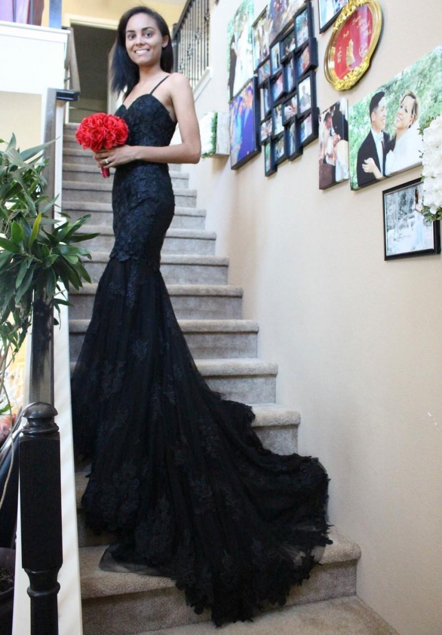 Black Lace Mermaid Dress Custom Made Prom Bridal Gown Ruched Wedding