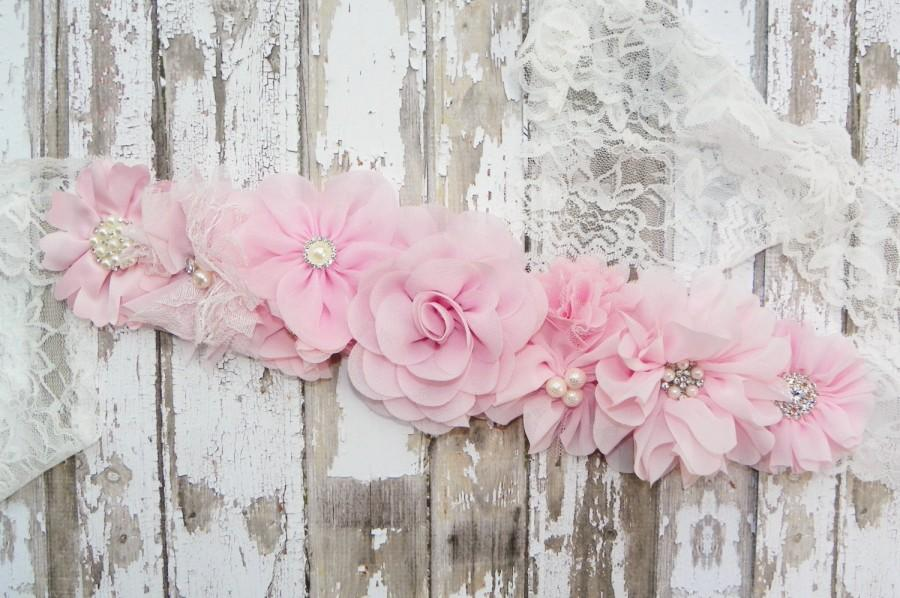Blush Flower Sash Pink Flower Girl Sash Pink Bridal Belt Blush