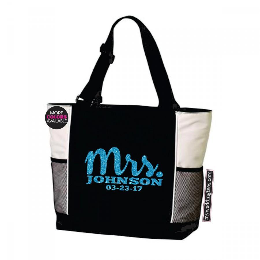 زفاف - MRS Tote Bag. With Last Name and Wedding Date. Wedding Tote. Wedding Bag. Bridal Shower Gift. Bridal Tote. Anniversary Tote. Honeymoon Tote.