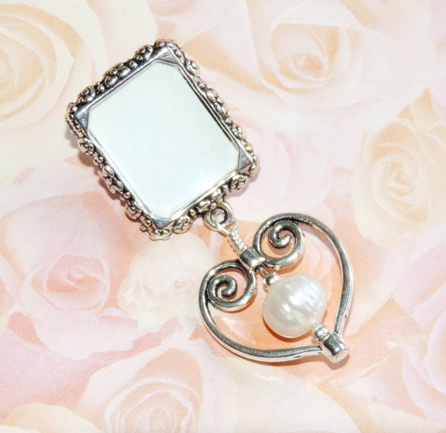lapel pin heart pearl small picture frame lapel photo pin mother of the bride gift gift for a bride photo brooch personalized or diy - Mother Of The Bride Picture Frame