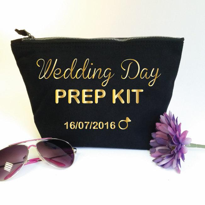 Wedding Day Prep Kit Custom Makeup Bag With Date. Bridal