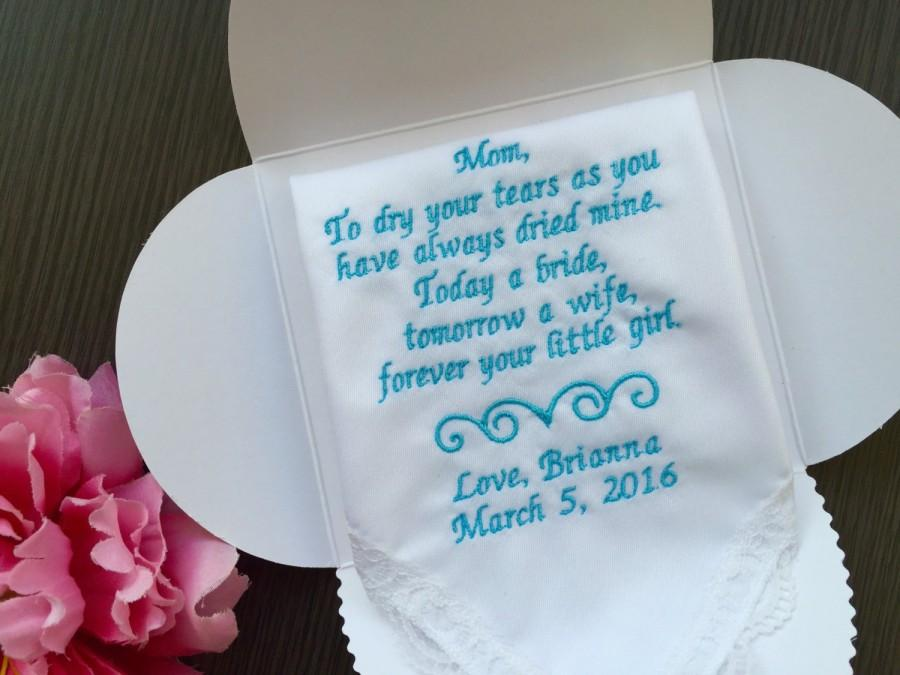 Special Gift From Mother To Daughter For Wedding : Personalized Wedding Handkerchief For Mother Of Bride- Gift For Mother ...