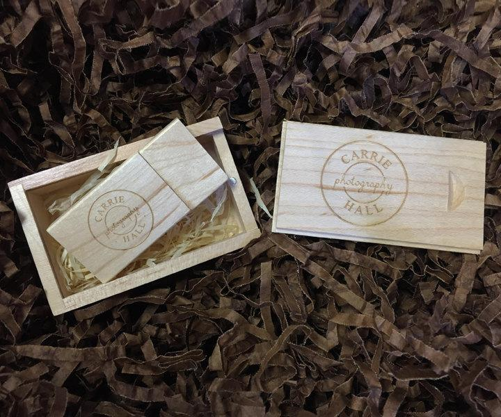 Wedding - 1 Wooden Block USB & Small Slide Wooden USB Gift Box - Branded with Your Personalised Logo