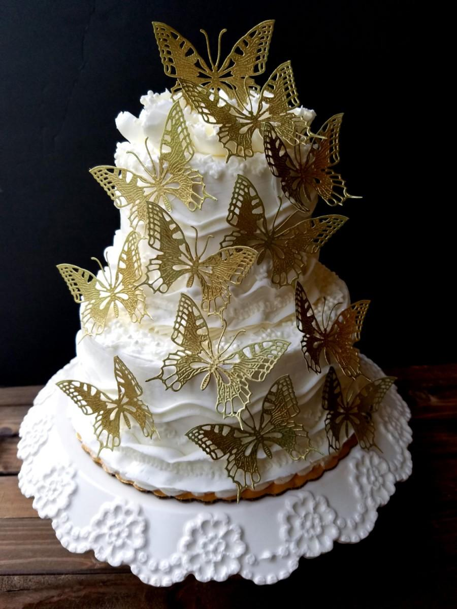 Свадьба - Edible  Embossed Lacy Monarch Shimmering Wedding Butterflies-Cake/Cupcake Topper.Set of 12