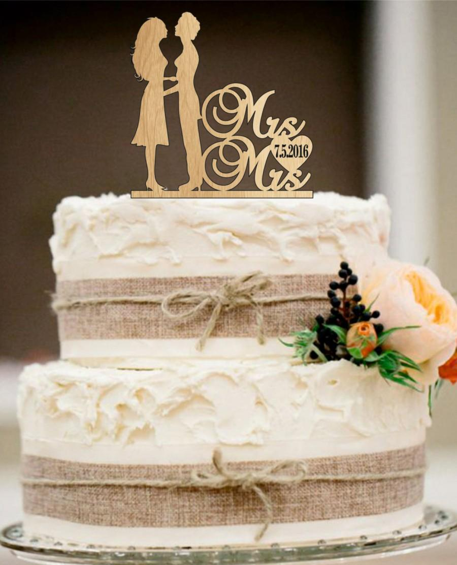 Mariage - Same Sex Cake Topper,lesbian Cake Topper,Mrs and Mrs Wedding Cake Topper, Wedding Silhouette Couple Cake Topper,Rustic Wedding Cake Topper